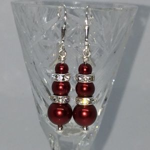 Sterling Silver Red Glass Pearl Leverbacks